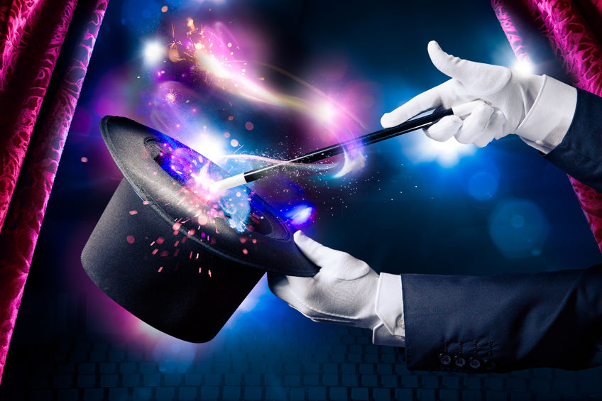 magician lesson hand with magic wand and hat