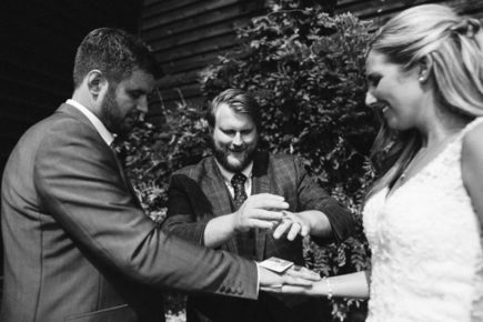 B&W image of Chris performing Wedding magic