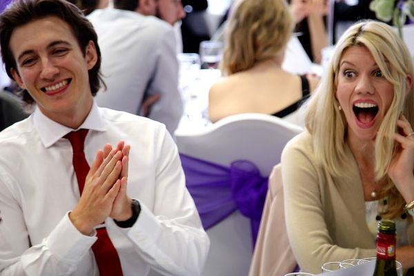stunned wedding guests after a magic trick by Chris Whitelock