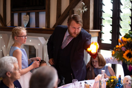wedding breakfast table magic trick with a flame